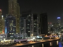 The night view from our flat in the marina.