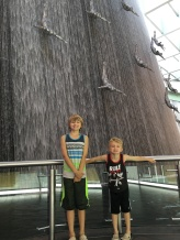 3-story waterfall sculpture at the Dubai Mall.