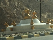 We found fountains and statues all over Oman.