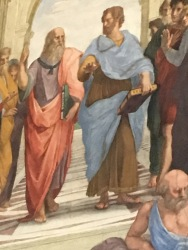 Plato and Aristotle in a wall mural