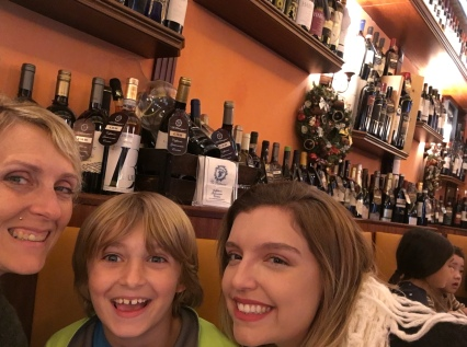 Our first lunch in Rome, our first taste if Italian wine in Italy!
