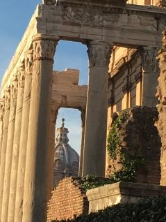 Through the arches.